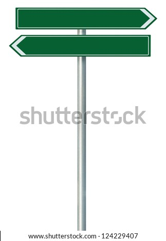 Right and left road route direction pointer this way sign, blank empty green isolated roadside signage, white traffic arrow frame roadsign, grey pole post