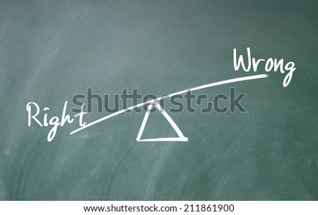 right and wrong concept  - stock photo