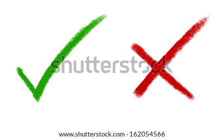 Right Wrong Tick Mark Cross Mark Stock Illustration 162054566