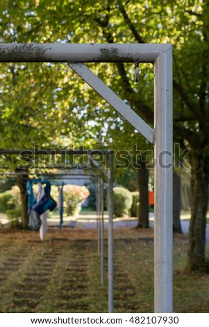 Right Angle Clothes Hanging Line Metal Pole Structure Detail Close