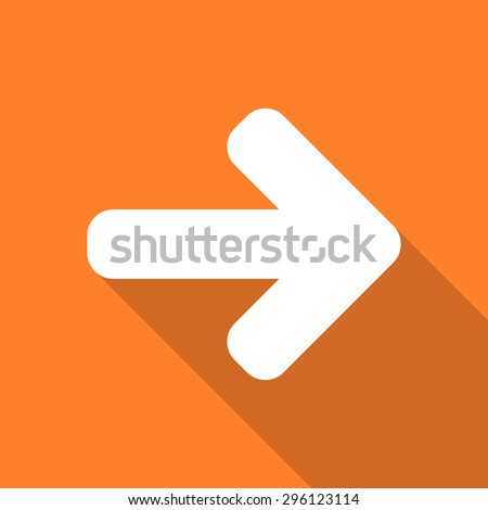 right arrow flat design modern icon with long shadow for web and mobile app - stock photo