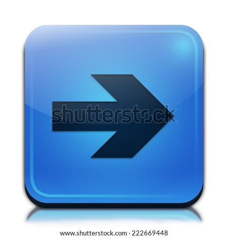 Right arrow icon. Glossy blue button. - stock photo