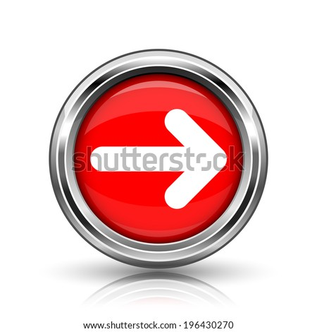 Right arrow icon. Shiny glossy internet button on white background.
