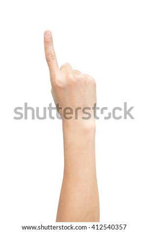 right back hand a man on top view show up, the number one, forefinger, index finger, raise, count, isolated on white background