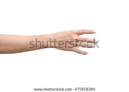 right back hand of a man trying to reach or grab something. fling, touch sign. Reaching out to the left. isolated on white background