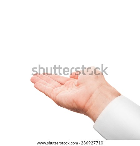 Right business man hand with empty place for hold something, studio photo isolated on white with selective focus - stock photo