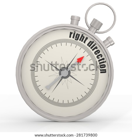 Right direction compass image with hi-res rendered artwork that could be used for any graphic design. - stock photo