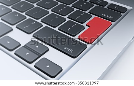 right fragment of a computer keyboard with red enter key, concept of work and communication