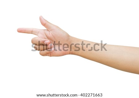 Right hand a man show forefinger, index finger and thumb action in correct, pointing, shoot sign. isolated on white background