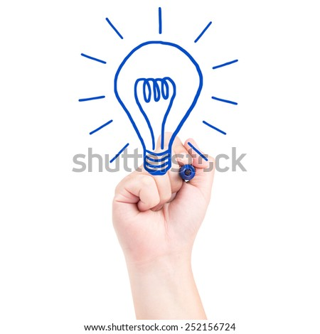 Right hand draw a bulb with blue marker isolated on white background - stock photo
