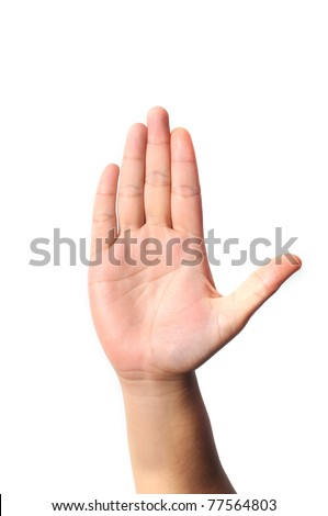 Right hand five fingers isolated with white background - stock photo