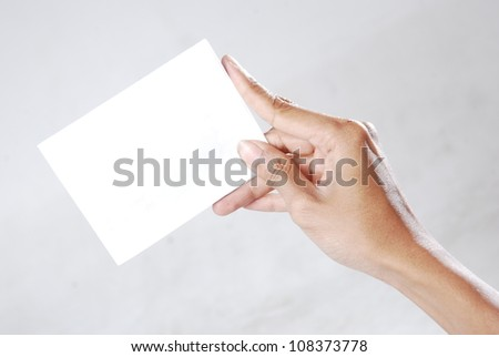 right-hand-held card gray background
