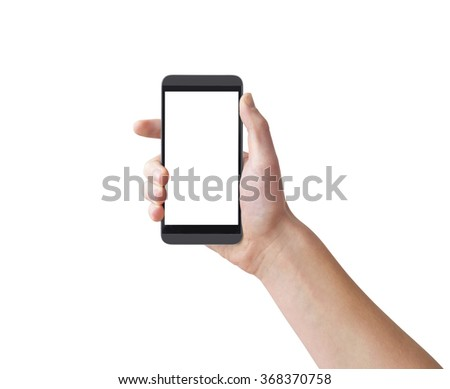 Right hand holding big touch screen smart phone, isolated on white, clipping path