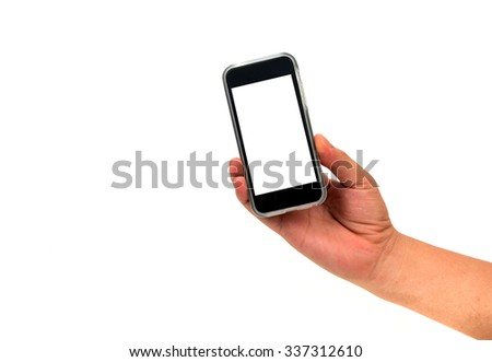 right hand holding cell phone with blank screen isolated on white - stock photo