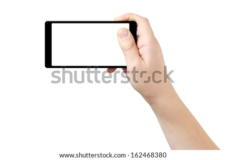 Right hand holding thin frame smart phone, clipping path - stock photo
