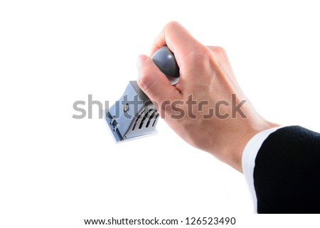RIGHT HAND IN SUIT STAMPING WITH ISOLATED WHITE BACKGROUND