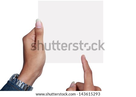 right hand pointed to a card held by the left hand