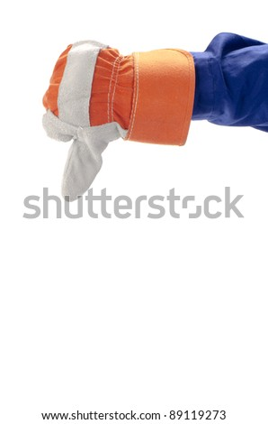 Right hand thumbs down isolated with white background
