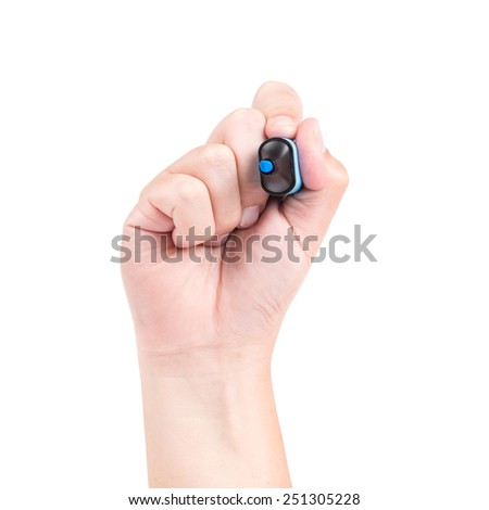 Right hand with blue marker isolated on white background - stock photo
