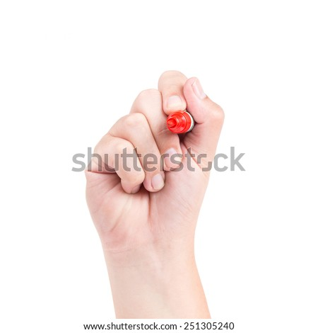 Right hand with red marker isolated on white background - stock photo