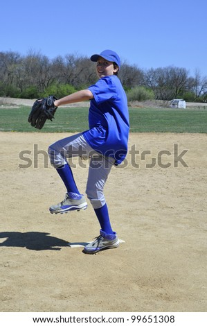 right handed baseball pitcher - stock photo