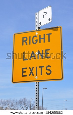 Right lane exits sign