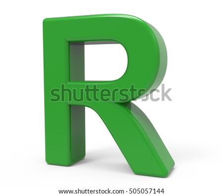right leaning 3d rendering green letter R isolated white background