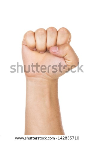 right male hand - raised up clenched fist, isolated on white background - stock photo