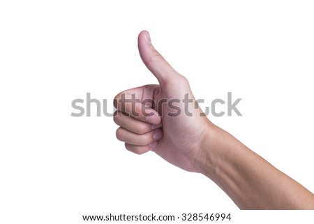 Right male hand with thumb up style on white background
