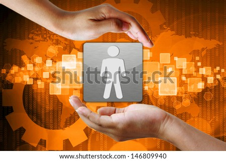 Right Person employee in hand on Abstract business background - stock photo