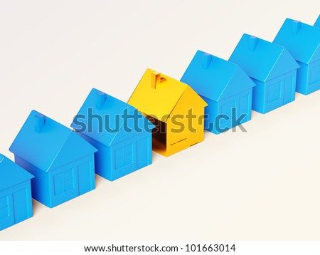 Right realty choice: special golden house among common ones. - stock photo
