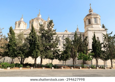 Right side of Trinity Cathedral of a Russian Ecclesiastical Mission in Jerusalem