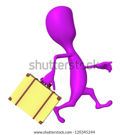 Right side view puppet hurry on leaving bus - stock photo