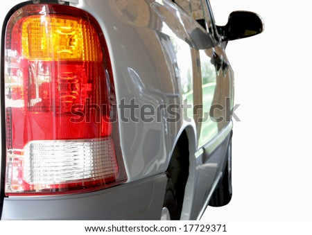 Right tail light on a van isolated on white - stock photo