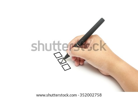 Right ticked on middle of check list box - stock photo