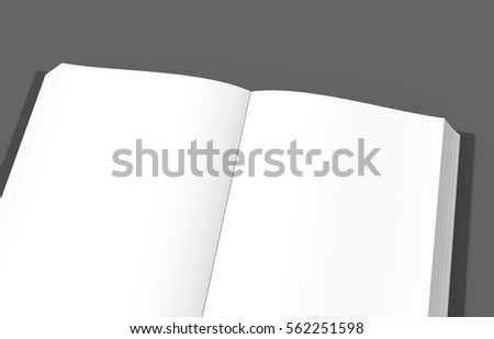 right tilt 3d rendering open book image, isolated dark background