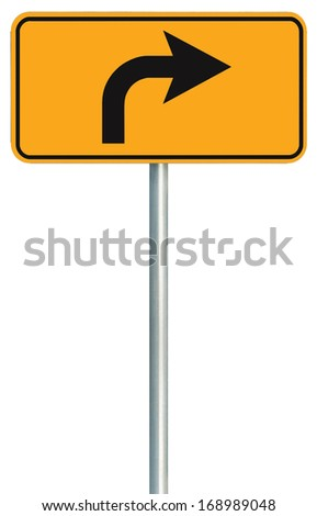 Right turn ahead route road sign, yellow isolated roadside traffic signage, this way only direction pointer, black arrow frame roadsign, grey pole post - stock photo