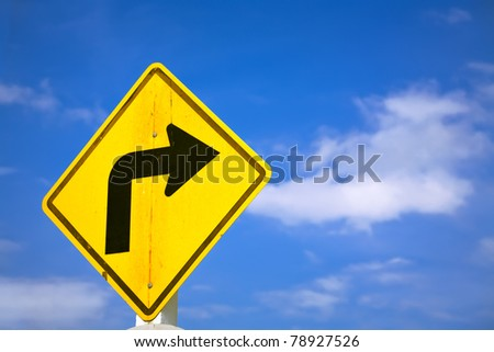 right turn sign - stock photo