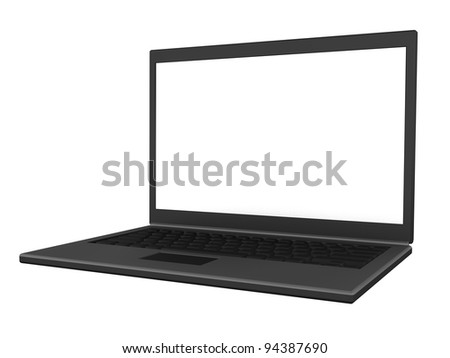Right view of an isolated modern lightweight laptop with a blank screen. (3D illustration)