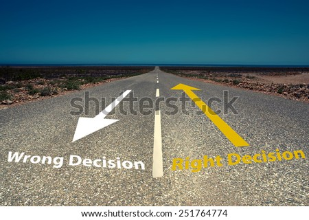 right vs wrong decision on way  - stock photo