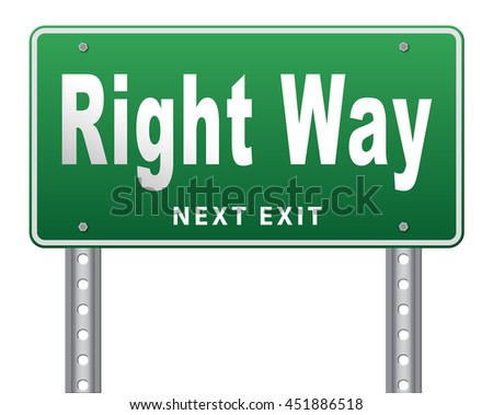Right way decision or direction for answers on questions, road sign billboard. 3D illustration, isolated, on white  - stock photo
