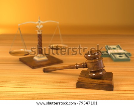 Rights. Judge gavel, scale and money. 3d - stock photo