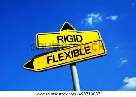 inflexible. rigid or flexible - traffic sign with two options be adaptable to new circumstances and inflexible