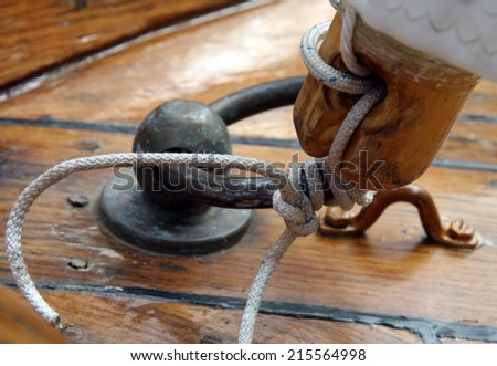 Rigs and rope on the boat. - stock photo