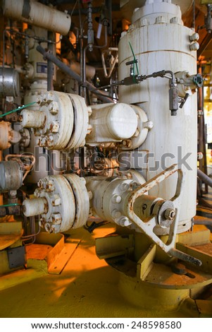 Rigs offshore Oil refinery. Well head station on the platform. - stock photo