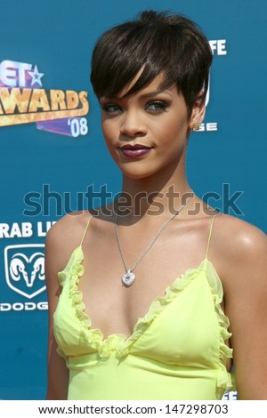 Rihanna  arriving  at the BET Awards at the Shrine Auditorium in Los Angeles, CA on June 24, 2008