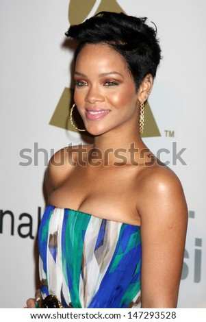 Rihanna  arriving at the Pre-Grammy Party honoring Clive Davis at the Beverly Hilton Hotel in Beverly Hills, CA on  February 7, 2009 - stock photo