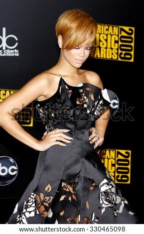 Rihanna at the 2009 American Music Awards at Nokia Theatre L.A. Live in Los Angeles, USA on November 22, 2009. - stock photo