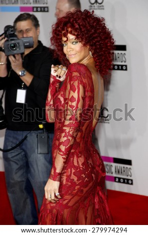 Rihanna at the 2010 American Music Awards held at the Nokia Theatre L.A. Live in Los Angeles on November 21, 2010. - stock photo