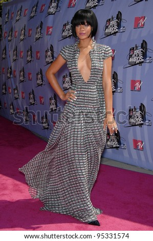 Rihanna at the 2007 MTV Movie Awards at the Universal Amphitheatre. June 3, 2007 Los Angeles, CA Picture: Paul Smith / Featureflash - stock photo